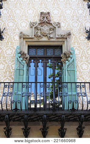 BARCELONA, SPAIN - MAY 17, 2017: One of the balconies of the Amatller House by Josep Puig Cadafalch on May 17 2017 in Barcelona, Spain