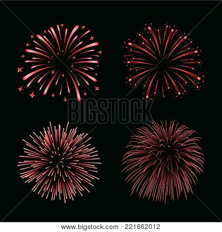 Beautiful red fireworks set. Bright fireworks isolated black background. Light red decoration fireworks for Christmas, New Year celebration, holiday festival, birthday card Vector illustration