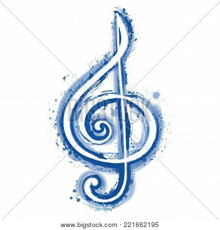 watercolor sign treble clef for a musical concert poster. Vector