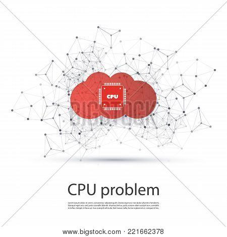 Password or Data Leak in Cloud Networks and Applications - CPU Bugs and Vulnerabilities Problem, IT Security Concept Design, Vector Illustration