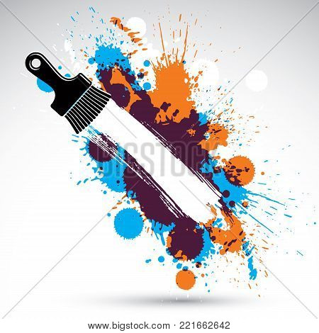 Art drawn funky vector illustration created with splashes and inky spots. Decorative colorful backdrop drawn with painting brush can be used as website background. You can write your text here.
