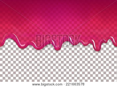 Seamless dripping sweet cranberry jam. Vector purple syrup transparent background.