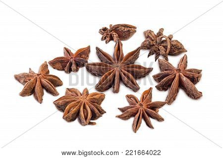 Closeup Of Several Star Anises (star Aniseed Or Chinese Star Anise) Isolated On White Background