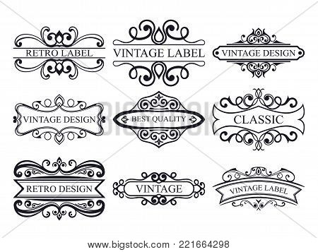 Set of vintage calligraphic labels. Ornate logo templates for design of invitations, greeting cards, banners, posters, placards, badges, hotel, restaurant and business identity