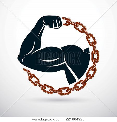 Athletic arm composed with iron chain, symbol of strength, lifter graphic vector illustration. Power lifting.