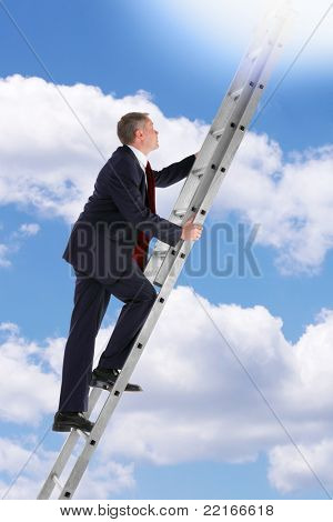 Concept photo of a businessman climbing a ladder into the sky looking up into the light.