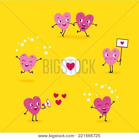 Love story. A collection of animated hearts, a loving guy and a girl in different situations. Isolated groups of characters, illustrations for Valentines Day, Wedding, Engagement. Vector set 5