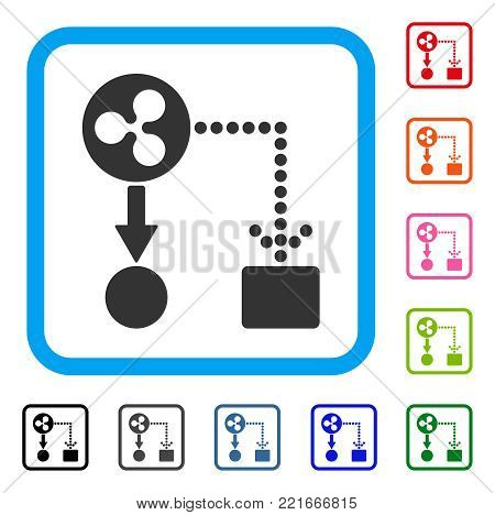 Ripple Cashflow icon. Flat grey iconic symbol inside a blue rounded rectangular frame. Black, grey, green, blue, red, pink color variants of ripple cashflow vector. Designed for web and software UI.