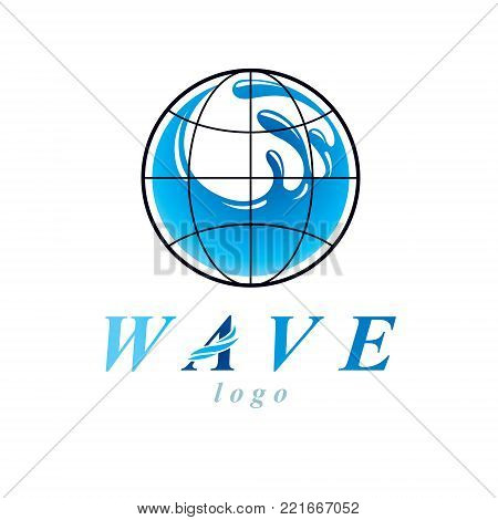 Pure water vector abstract symbol for use in mineral water advertising. Human and nature harmony concept.