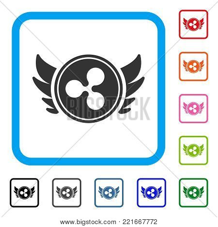 Ripple Angel Investment icon. Flat gray iconic symbol inside a blue rounded rectangle. Black, grey, green, blue, red, pink color versions of ripple angel investment vector.