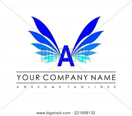 A letter blue wings vector logo. blue wings logo