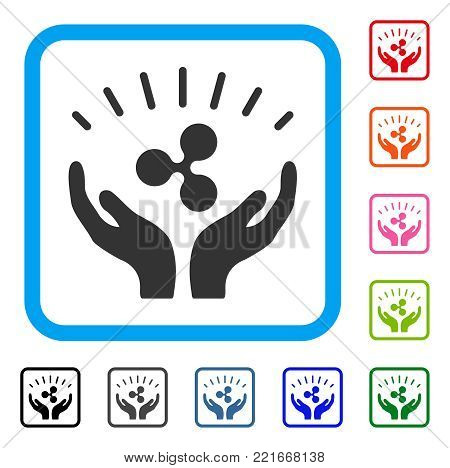 Ripple Prosperity Hands icon. Flat gray iconic symbol inside a blue rounded squared frame. Black, gray, green, blue, red, pink color variants of ripple prosperity hands vector.