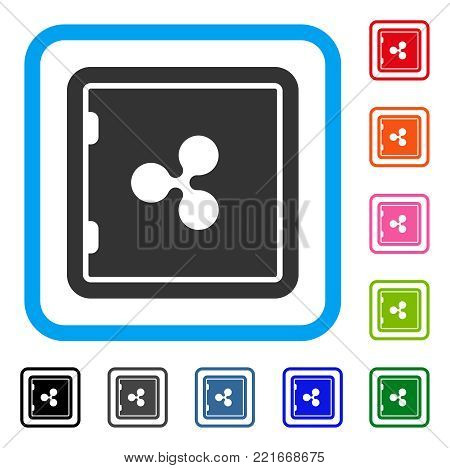 Ripple Banking Safe icon. Flat grey pictogram symbol inside a blue rounded frame. Black, grey, green, blue, red, pink color additional versions of ripple banking safe vector.