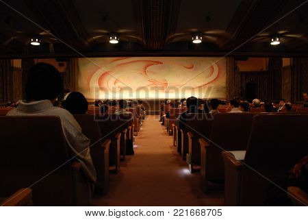 Inside a Japanese theater in Nihombashi district of Tokyo