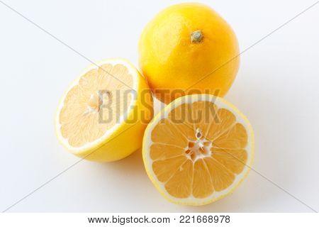 Lemon. Fresh lemon isolated on white. Lemon in a cut.