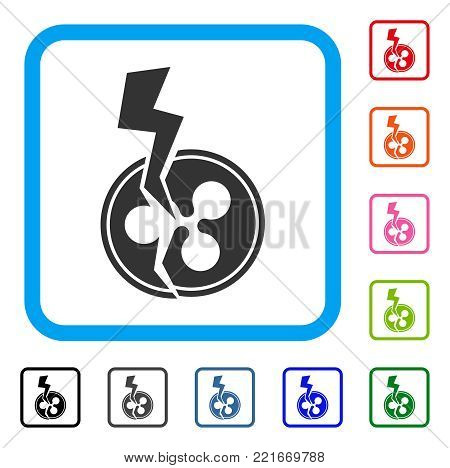 Ripple Crash Lightning icon. Flat gray iconic symbol in a blue rounded rectangular frame. Black, gray, green, blue, red, orange color additional versions of ripple crash lightning vector.