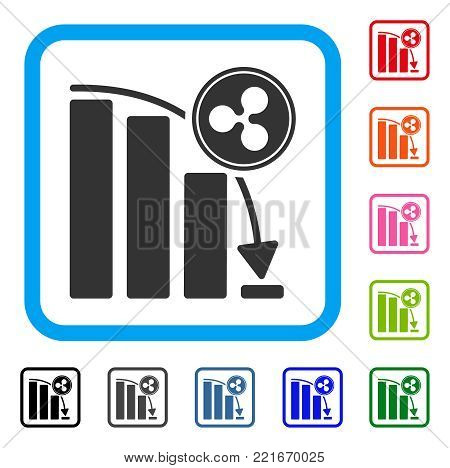 Ripple Epic Fail Chart icon. Flat gray pictogram symbol inside a blue rounded rectangular frame. Black, grey, green, blue, red, pink color additional versions of ripple epic fail chart vector.