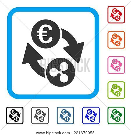 Ripple Euro Exchange icon. Flat grey pictogram symbol in a blue rounded rectangle. Black, gray, green, blue, red, pink color additional versions of ripple euro exchange vector.