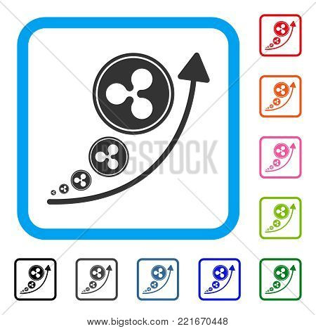 Ripple Inflation Trend icon. Flat grey pictogram symbol in a blue rounded frame. Black, gray, green, blue, red, orange color versions of ripple inflation trend vector. Designed for web and app UI.