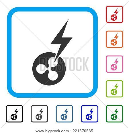 Ripple Lightning Strike icon. Flat grey pictogram symbol inside a blue rounded squared frame. Black, gray, green, blue, red, pink color variants of ripple lightning strike vector.