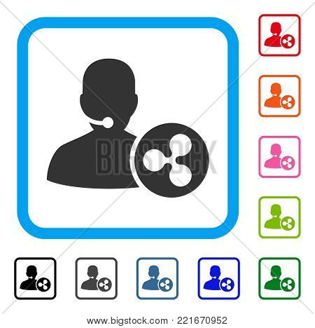 Ripple Receptionist icon. Flat gray pictogram symbol inside a blue rounded rectangular frame. Black, gray, green, blue, red, pink color variants of ripple receptionist vector.
