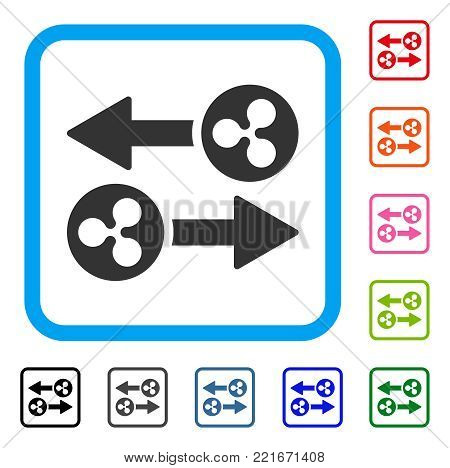 Ripple Transaction Arrows icon. Flat grey pictogram symbol in a blue rounded square. Black, grey, green, blue, red, pink color versions of ripple transaction arrows vector.