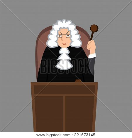judge in mantle - funny vector cartoon illustration in flat style