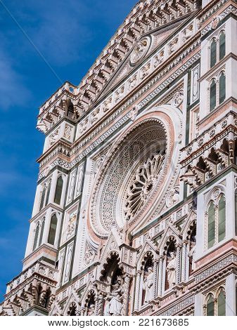 Detail of the facade of the cathedral of Florence, officially called Basilica of Santa Maria del Fiore
