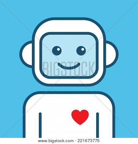 Chatbot icon. Outline robot sign on a blue background.. Vector illustration. Voice support service bot. Virtual online support