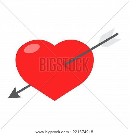 Heart Pierced with Arrow flat icon, valentines day and romantic, love sign vector graphics, a colorful solid pattern on a white background, eps 10.