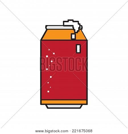 Pixelated beer can icon on a white background, Vector illustration