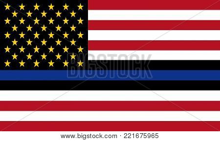 Vector United States flag with blue line to honor police and law enforcement officers