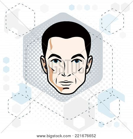 Man face, human head. Vector character, handsome brunet male with stylish haircut.