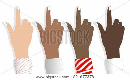 Womans hand , cursor set.Vector illustration EPS10