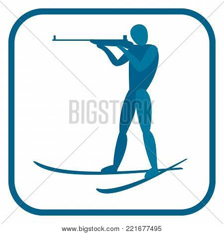 Biathlon emblem. Two color icon of the ski shooting. One of the pictogram from winter sports icons set. Vector illustration EPS-8.