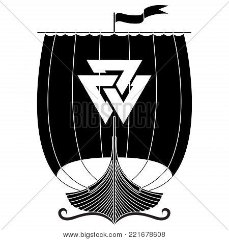 Warship of the Vikings. Drakkar, isolated on white, vector illustration