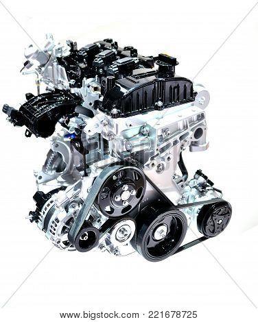 New car engine isolated on white background.