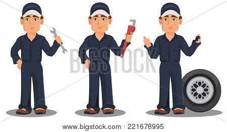 Professional auto mechanic in uniform. Smiling cartoon character, set with wrench, pipe wrench and car wheel. Expert service worker. Vector illustration