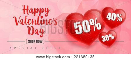 Happy Valentines Day Shop now Special offer lettering and hearts in polygon style with fifty, forty, thirty percent on pink background. Inscription can be used for leaflets, posters, banners