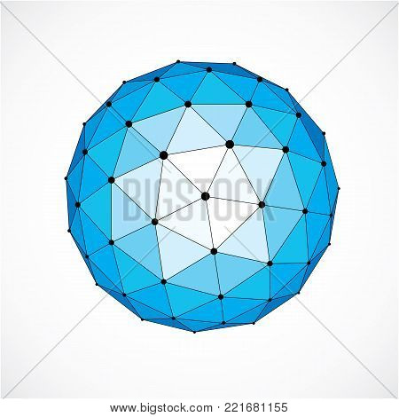 3d vector digital wireframe spherical object made using triangular facets. Geometric polygonal structure created with lines mesh. Low poly shape, blue lattice form for use in web design.