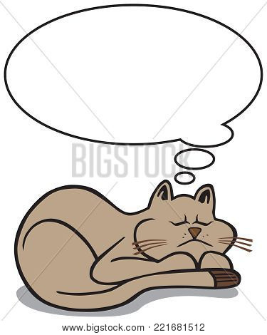 A cartoon cat is asleep with a thought balloon above him