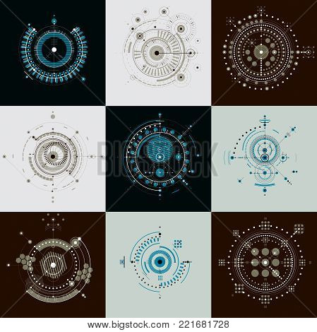 Set of vector abstract backgrounds created in Bauhaus retro style. Modern geometric composition can be used as templates and layouts. Engineering technological backdrops made with circles.