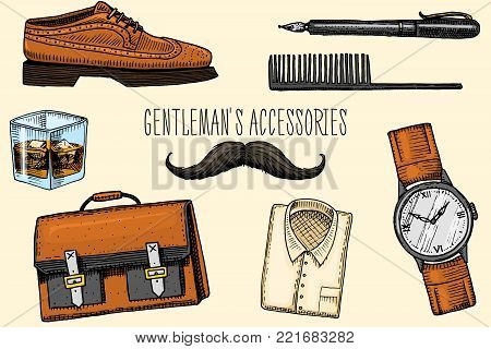 gentleman accessories. hipster or businessman, victorian era. engraved hand drawn vintage. brogues and fountain pen, briefcase and pouch, comb and wristwatch, mustache and shirt, a glass of whiskey