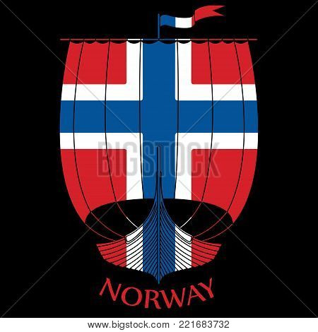 Warship of the Vikings - Drakkar and Norway flag, isolated on black, vector illustration