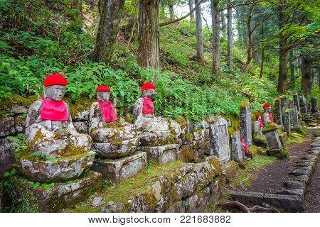 Narabi Jizo statues landmark in Kanmangafuchi abyss, Nikko, Japan