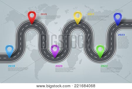 Vector company corporate car road on world map milestone, timeline, business presentation layout, infographic strategic plan workflow with pointers marks. Concept template illustration.