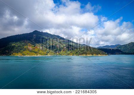 Marlborough Sounds coast and hills, New Zealand