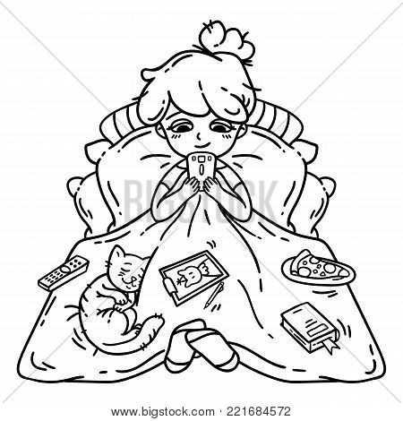Rest and relaxation. Girl rest. Isolated objects on white background. Vector illustration. Coloring book.