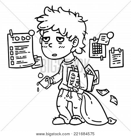 Hard work man. Tired man. Business man working hard. Isolated objects on white background. Vector illustration. Coloring page.