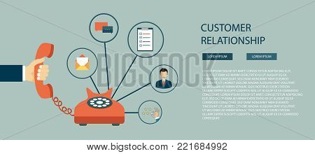 Business customer care service concept. Icons set of contact us, support, help, phone call and website click. Flat vector illustration.